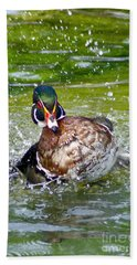 Hand Towel featuring the photograph Splashdown - Wood Duck by Adam Olsen