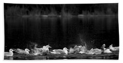 Hand Towel featuring the photograph Splashing Seagulls by Yulia Kazansky
