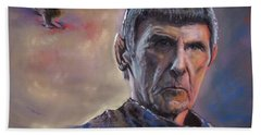 Hand Towel featuring the mixed media Spock by Peter Suhocke