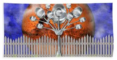 Bath Towel featuring the mixed media Spoon Tree by Ally  White