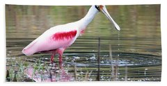 Spoonbill In The Pond Hand Towel by Carol Groenen