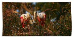Bath Towel featuring the photograph Spoonbill Love Nest by John F Tsumas