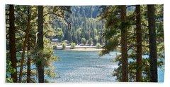 Forrest Mountain Trees Lake Scenic Photography Lake Gregory San Bernardino California - Ai P. Nilson Bath Towel