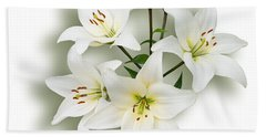 Spray Of White Lilies Bath Towel by Jane McIlroy