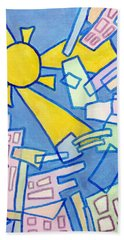 Hand Towel featuring the mixed media Summer In The City #2 by Jim Whalen