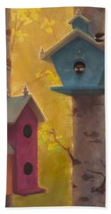 Spring Chickadees 2 - Birdhouse And Birch Forest Bath Towel by Karen Whitworth