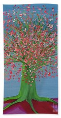 Bath Towel featuring the painting Spring Fantasy Tree By Jrr by First Star Art