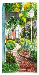 Hand Towel featuring the painting Spring Garden by Clara Sue Beym