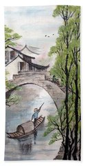 Spring In Ancient Watertown Hand Towel by Yufeng Wang
