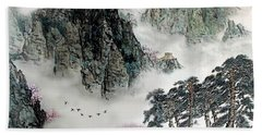 Bath Towel featuring the photograph Spring Mountains And The Great Wall by Yufeng Wang