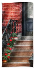Spring - Porch - Hoboken Nj - Geraniums On Stairs Bath Towel