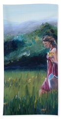 Bath Towel featuring the painting Spring Stroll by Donna Tuten