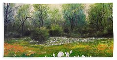 Hand Towel featuring the painting Spring by Vesna Martinjak