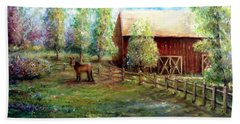 Hand Towel featuring the painting Springborn Horse Farm by Bernadette Krupa