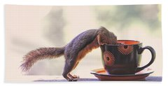 Squirrel And Coffee Hand Towel by Peggy Collins