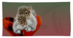 Squirrels Valentine Hand Towel by Mike Breau
