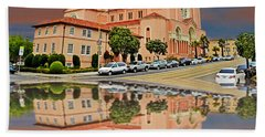 St Anne Church Of The Sunset In San Francisco With A Reflection  Bath Towel by Jim Fitzpatrick