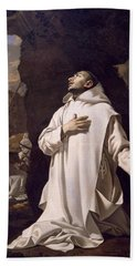 St Bruno Praying In Desert Bath Towel