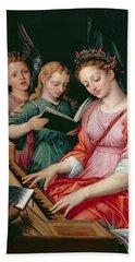 Saint Cecilia Accompanied By Three Angels Bath Towel