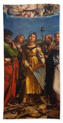 St. Cecilia With Sts. Paul John Augustine And Mary Magdalene Bath Towel