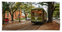 St. Charles Ave. Streetcar In New Orleans Hand Towel