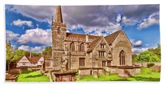 Bath Towel featuring the digital art St Cyriac Church Lacock by Paul Gulliver