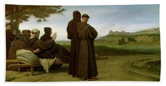 Saint Francis Of Assisi, While Being Carried To His Final Resting Place At Saint-marie-des-anges Bath Towel