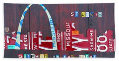 St. Louis Skyline License Plate Art Hand Towel