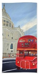 Bath Towel featuring the painting St. Paul Cathedral And London Bus by Magdalena Frohnsdorff