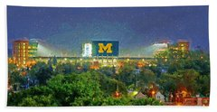 Stadium At Night Hand Towel by John Farr