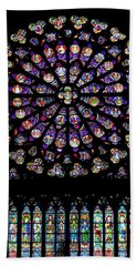Stained Glass At Notre Dame Bath Towel