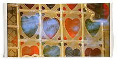 Bath Towel featuring the photograph Stained Glass Hands And Hearts by Kathy Barney