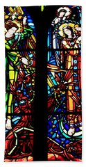 Stained Glass Window At Mont  Le Saint-michel Hand Towel