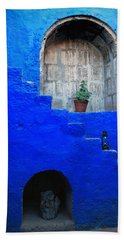 Staircase In Blue Courtyard Hand Towel