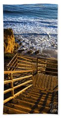 Bath Towel featuring the photograph Steps To Blue Ocean And Rocky Beach by Jerry Cowart
