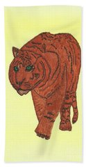 Hand Towel featuring the painting Stalking Tiger by Tracey Williams