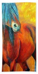 Hand Towel featuring the painting Stallions Concerto  by Alison Caltrider