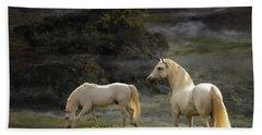 Stallions Of The Gods Hand Towel by Melinda Hughes-Berland