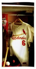 Hand Towel featuring the photograph Stan The Man's Locker Stan Musial by Iconic Images Art Gallery David Pucciarelli