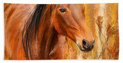 Standing Regally- Bay Horse Paintings Bath Towel