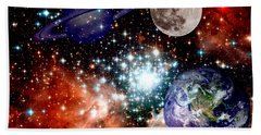 Star Field With Planets Hand Towel