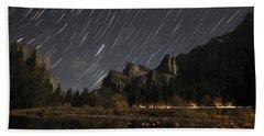 Star Trails Over Yosemite Bath Towel