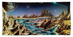 Bath Towel featuring the painting Star Trek - Orbiting Planet by Michael Rucker