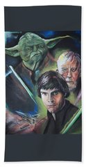 Hand Towel featuring the pastel Star Wars Medley by Peter Suhocke
