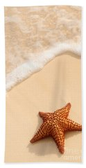 Starfish And Ocean Wave Bath Towel by Elena Elisseeva