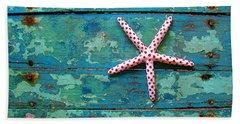 Seashore Peeling Paint - Starfish And Turquoise Hand Towel