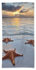 Starfish Beach Sunset Bath Towel