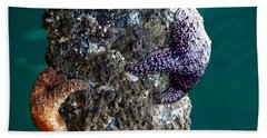Starfish Under The Pier Bath Towel