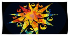 Bath Towel featuring the painting Staring Into Eternity Abstract Stars And Circles by Omaste Witkowski