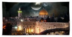 Full Moon At The Dome Of The Rock Bath Towel